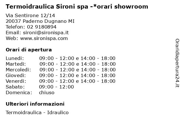 Termoidraulica Sironi spa -*orari showroom a Paderno Dugnano MI: indirizzo e orari di apertura