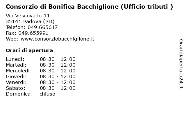 Consorzio di Bonifica Bacchiglione (Ufficio tributi ) a Padova (PD): indirizzo e orari di apertura