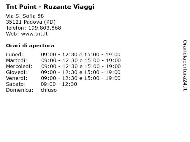 Tnt Point - Ruzante Viaggi a Padova (PD): indirizzo e orari di apertura