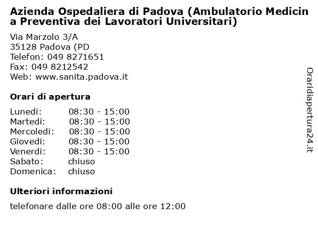 Azienda Ospedaliera di Padova (Ambulatorio Medicina Preventiva dei Lavoratori Universitari) a Padova (PD: indirizzo e orari di apertura