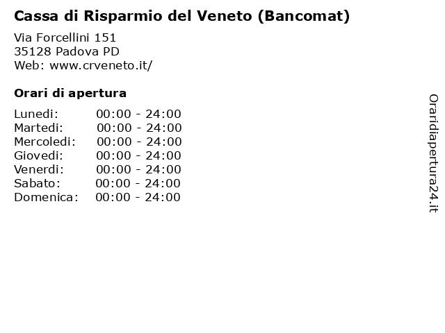 Cassa di Risparmio del Veneto (Bancomat) a Padova PD: indirizzo e orari di apertura
