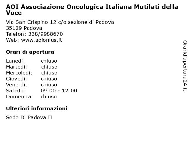 AOI Associazione Oncologica Italiana Mutilati della Voce a Padova: indirizzo e orari di apertura