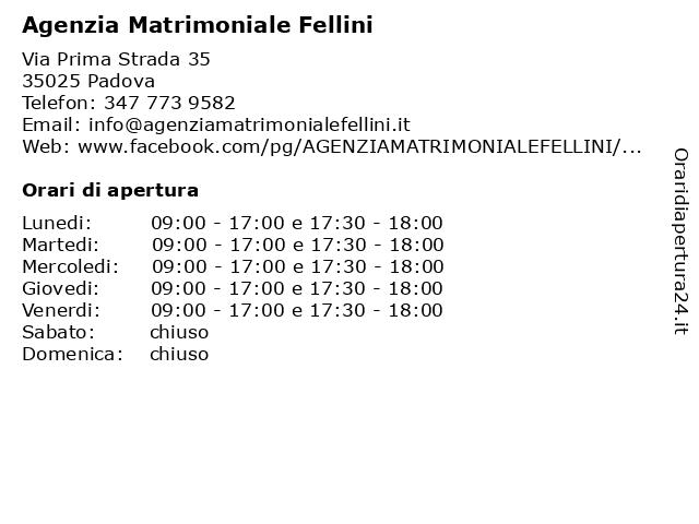 Agenzia Matrimoniale Fellini a Padova: indirizzo e orari di apertura