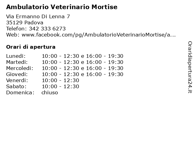 Ambulatorio Veterinario Mortise a Padova: indirizzo e orari di apertura