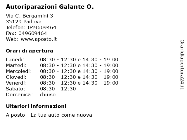Autoriparazioni Galante O. a Padova: indirizzo e orari di apertura