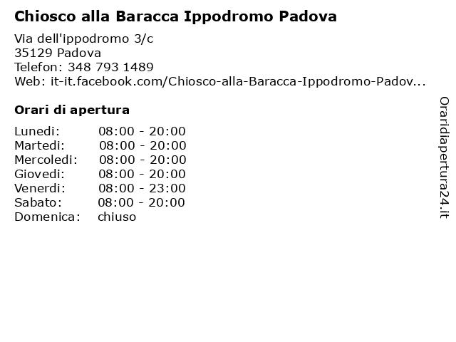 Chiosco alla Baracca Ippodromo Padova a Padova: indirizzo e orari di apertura