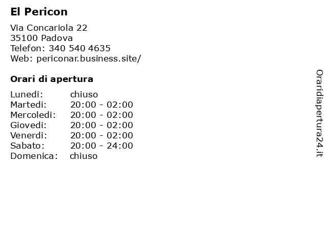 El Pericon a Padova: indirizzo e orari di apertura