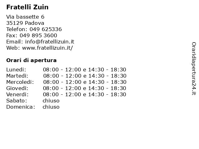 Fratelli Zuin a Padova: indirizzo e orari di apertura