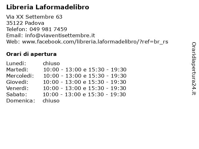 Libreria Laformadelibro a Padova: indirizzo e orari di apertura