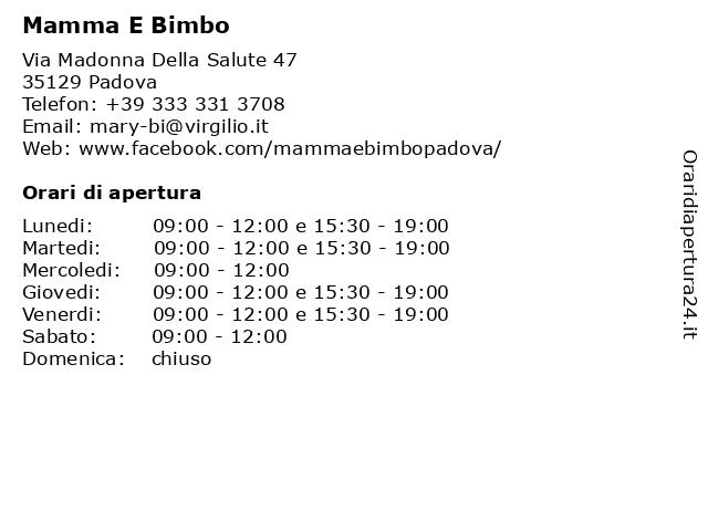 Mamma E Bimbo a Padova: indirizzo e orari di apertura