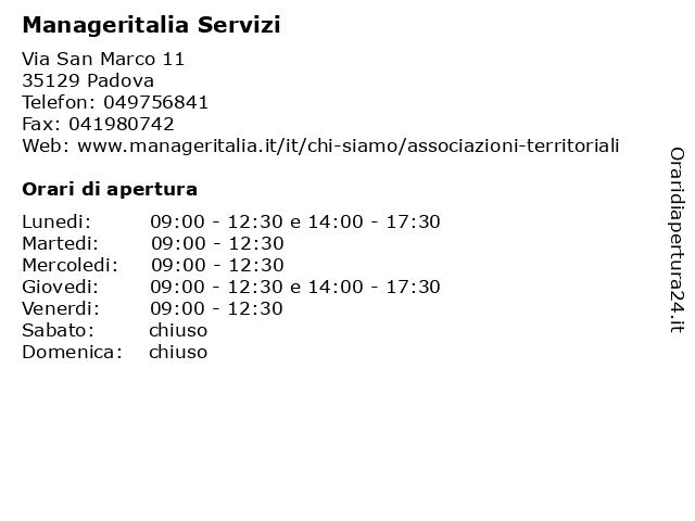 Manageritalia Servizi a Padova: indirizzo e orari di apertura