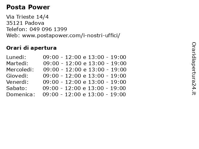 Posta Power a Padova: indirizzo e orari di apertura