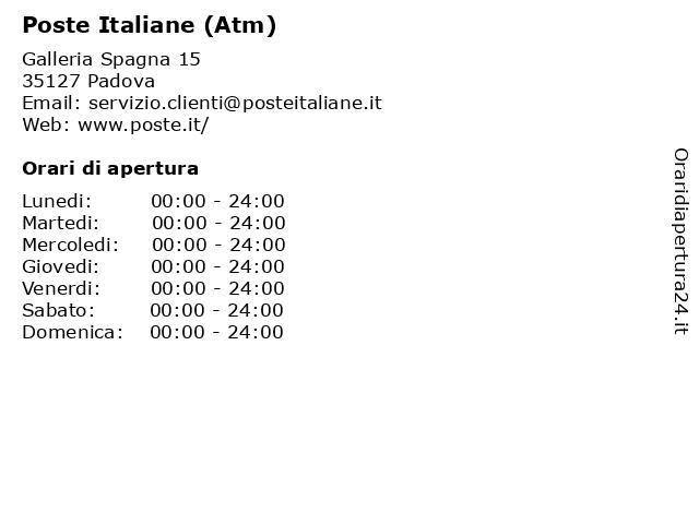 Poste Italiane (Atm) a Padova: indirizzo e orari di apertura