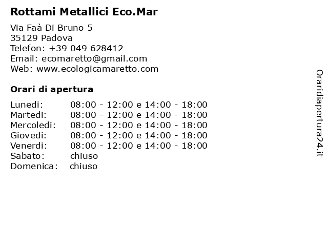 Rottami Metallici Eco.Mar a Padova: indirizzo e orari di apertura