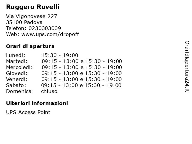 Ruggero Rovelli a Padova: indirizzo e orari di apertura