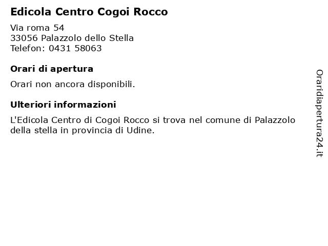 Edicola Centro Cogoi Rocco a Palazzolo dello Stella: indirizzo e orari di apertura