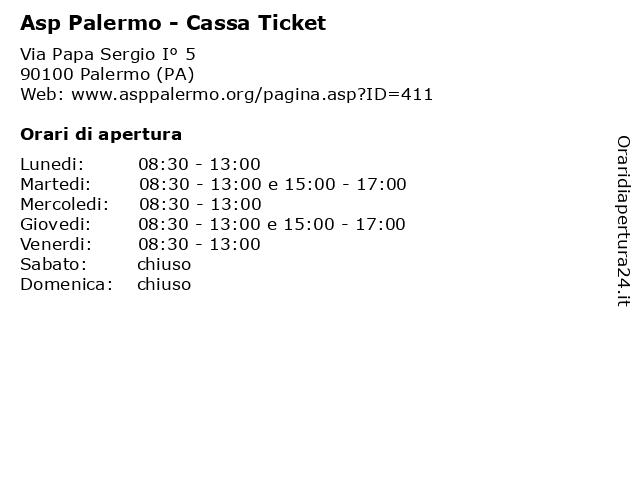 Asp Palermo - Cassa Ticket a Palermo (PA): indirizzo e orari di apertura