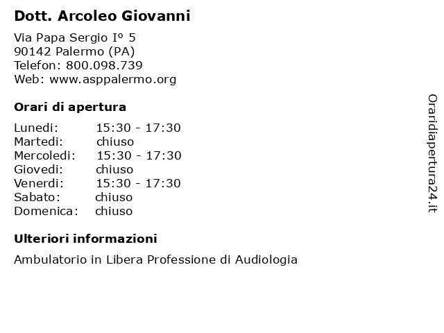 Dott. Arcoleo Giovanni a Palermo (PA): indirizzo e orari di apertura