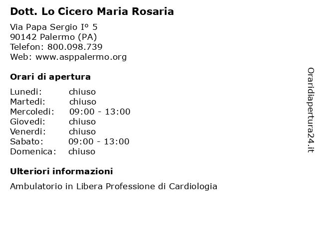 Dott. Lo Cicero Maria Rosaria a Palermo (PA): indirizzo e orari di apertura