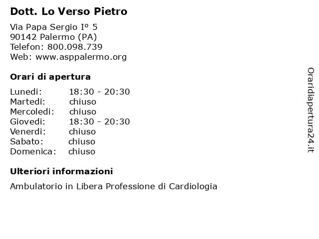 Dott. Lo Verso Pietro a Palermo (PA): indirizzo e orari di apertura