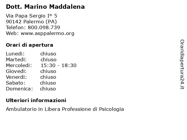 Dott. Marino Maddalena a Palermo (PA): indirizzo e orari di apertura