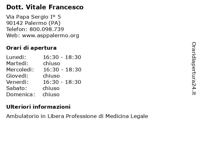 Dott. Vitale Francesco a Palermo (PA): indirizzo e orari di apertura