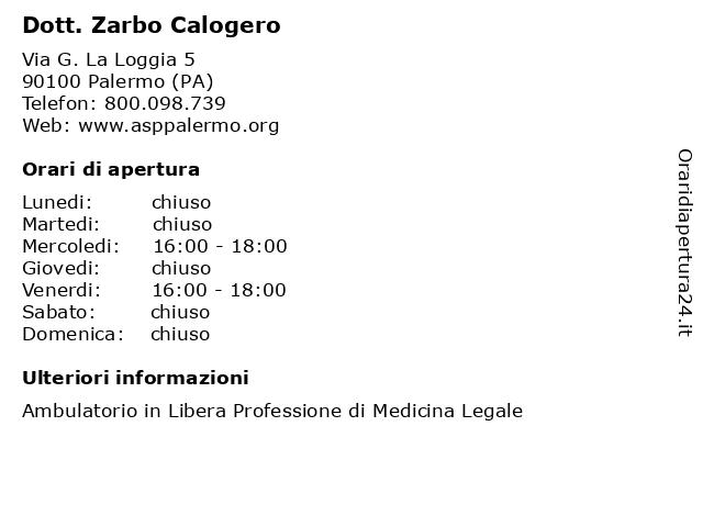 Dott. Zarbo Calogero a Palermo (PA): indirizzo e orari di apertura