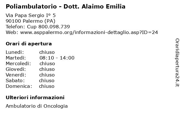 Poliambulatorio - Dott. Alaimo Emilia a Palermo (PA): indirizzo e orari di apertura