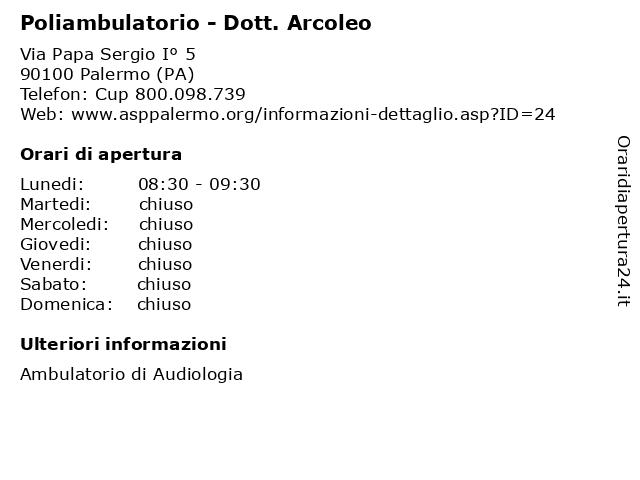 Poliambulatorio - Dott. Arcoleo a Palermo (PA): indirizzo e orari di apertura