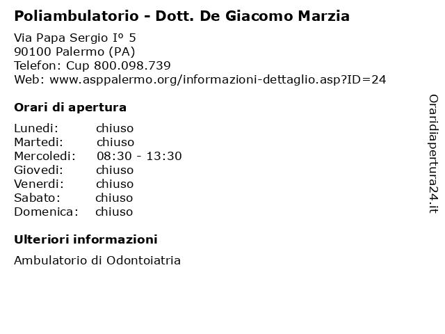 Poliambulatorio - Dott. De Giacomo Marzia a Palermo (PA): indirizzo e orari di apertura