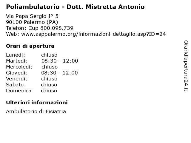 Poliambulatorio - Dott. Mistretta Antonio a Palermo (PA): indirizzo e orari di apertura
