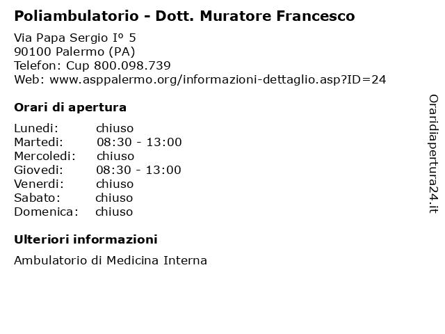 Poliambulatorio - Dott. Muratore Francesco a Palermo (PA): indirizzo e orari di apertura
