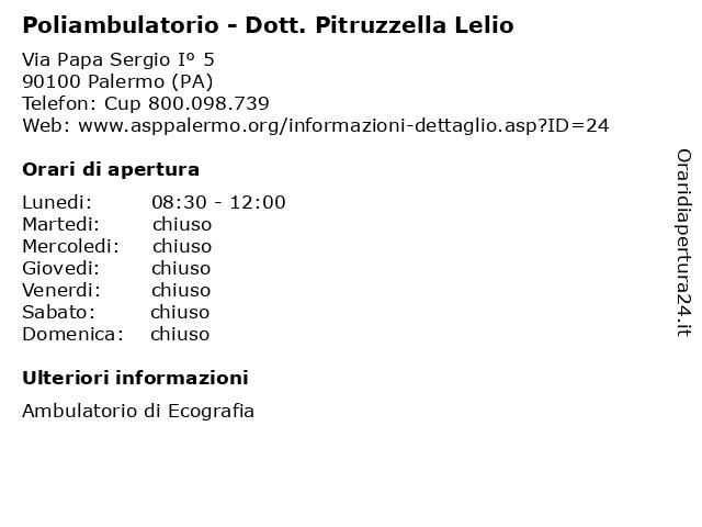 Poliambulatorio - Dott. Pitruzzella Lelio a Palermo (PA): indirizzo e orari di apertura