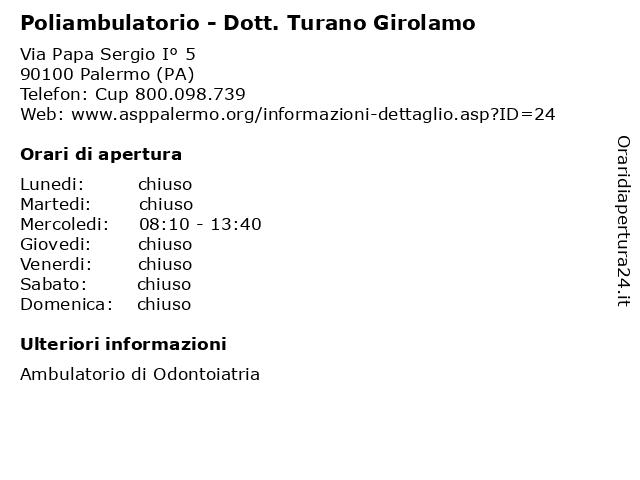 Poliambulatorio - Dott. Turano Girolamo a Palermo (PA): indirizzo e orari di apertura