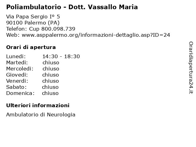 Poliambulatorio - Dott. Vassallo Maria a Palermo (PA): indirizzo e orari di apertura