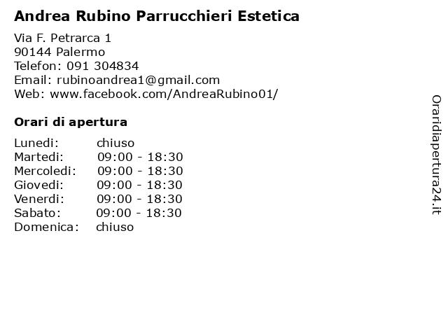 Andrea Rubino Parrucchieri Estetica a Palermo: indirizzo e orari di apertura