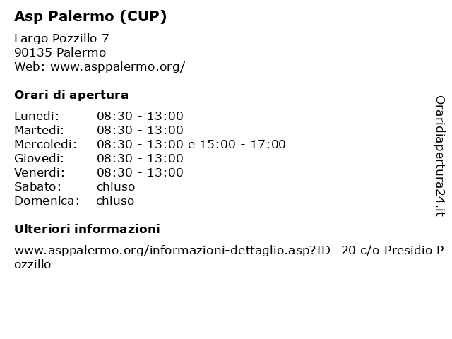 Asp Palermo (CUP) a Palermo: indirizzo e orari di apertura
