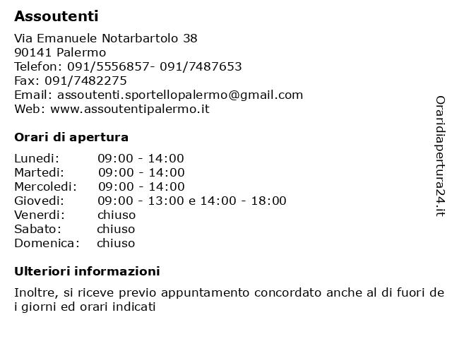 Assoutenti a Palermo: indirizzo e orari di apertura