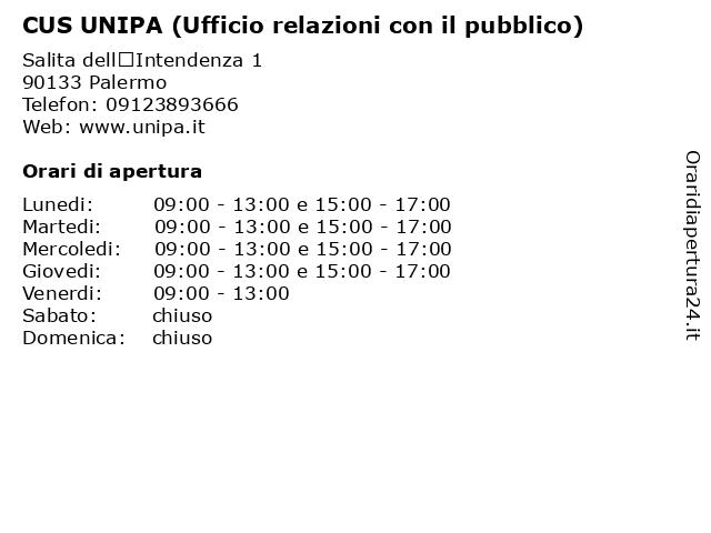 CUS UNIPA (Ufficio relazioni con il pubblico) a Palermo: indirizzo e orari di apertura