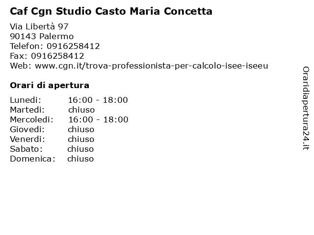 Caf Cgn Studio Casto Maria Concetta a Palermo: indirizzo e orari di apertura