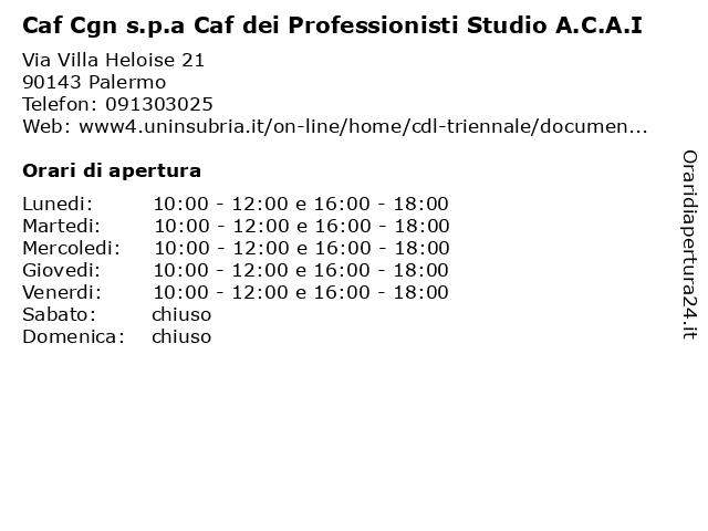 Caf Cgn s.p.a Caf dei Professionisti Studio A.C.A.I a Palermo: indirizzo e orari di apertura