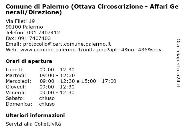 Comune di Palermo (Ottava Circoscrizione - Affari Generali/Direzione) a Palermo: indirizzo e orari di apertura