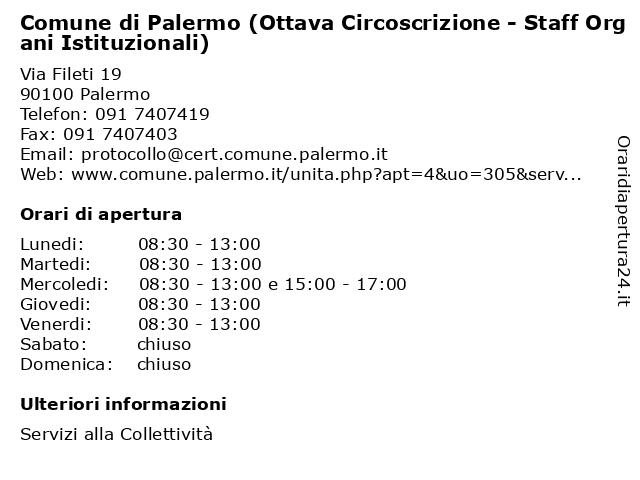 Comune di Palermo (Ottava Circoscrizione - Staff Organi Istituzionali) a Palermo: indirizzo e orari di apertura