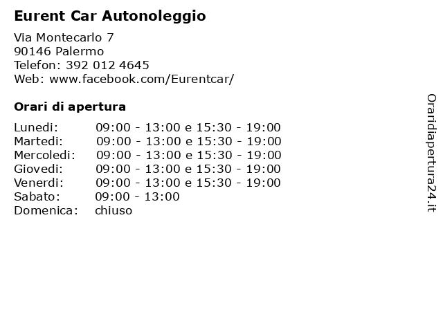 Eurent Car Autonoleggio a Palermo: indirizzo e orari di apertura