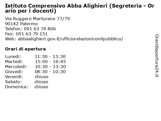 Istituto Comprensivo Abba Alighieri (Segreteria - Orario per i docenti) a Palermo: indirizzo e orari di apertura
