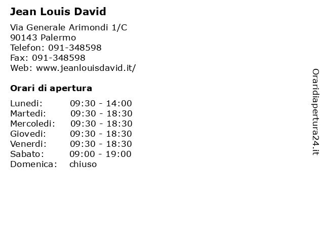Jean Louis David a Palermo: indirizzo e orari di apertura