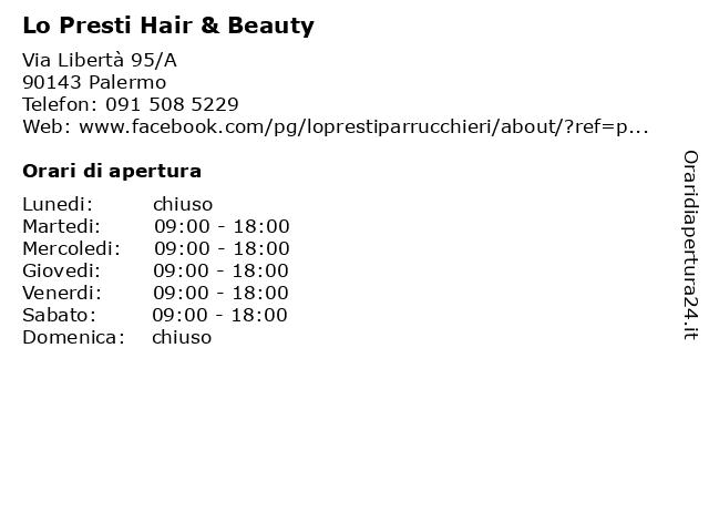 Lo Presti Hair & Beauty a Palermo: indirizzo e orari di apertura
