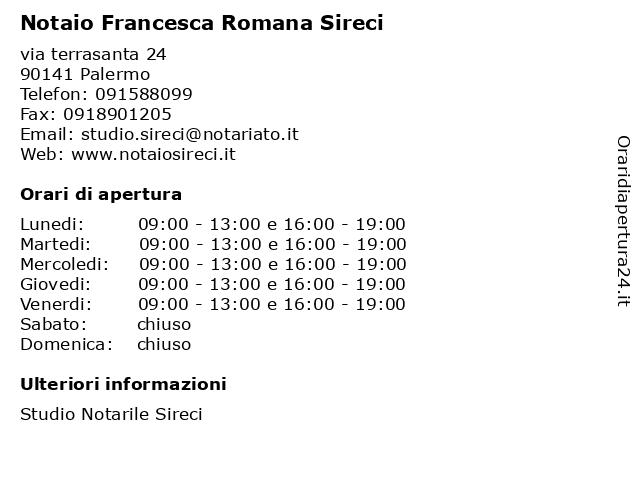 Notaio Francesca Romana Sireci a Palermo: indirizzo e orari di apertura