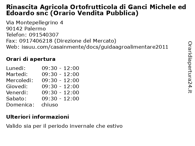 Rinascita Agricola Ortofrutticola di Ganci Michele ed Edoardo snc (Orario Vendita Pubblica) a Palermo: indirizzo e orari di apertura
