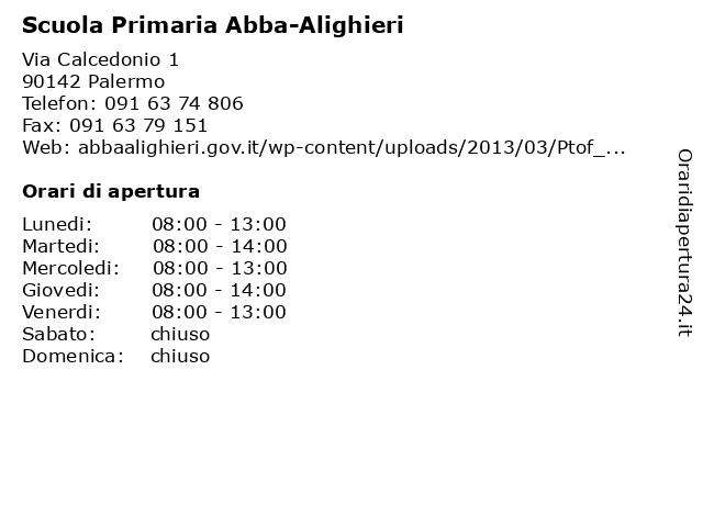 Scuola Primaria Abba-Alighieri a Palermo: indirizzo e orari di apertura